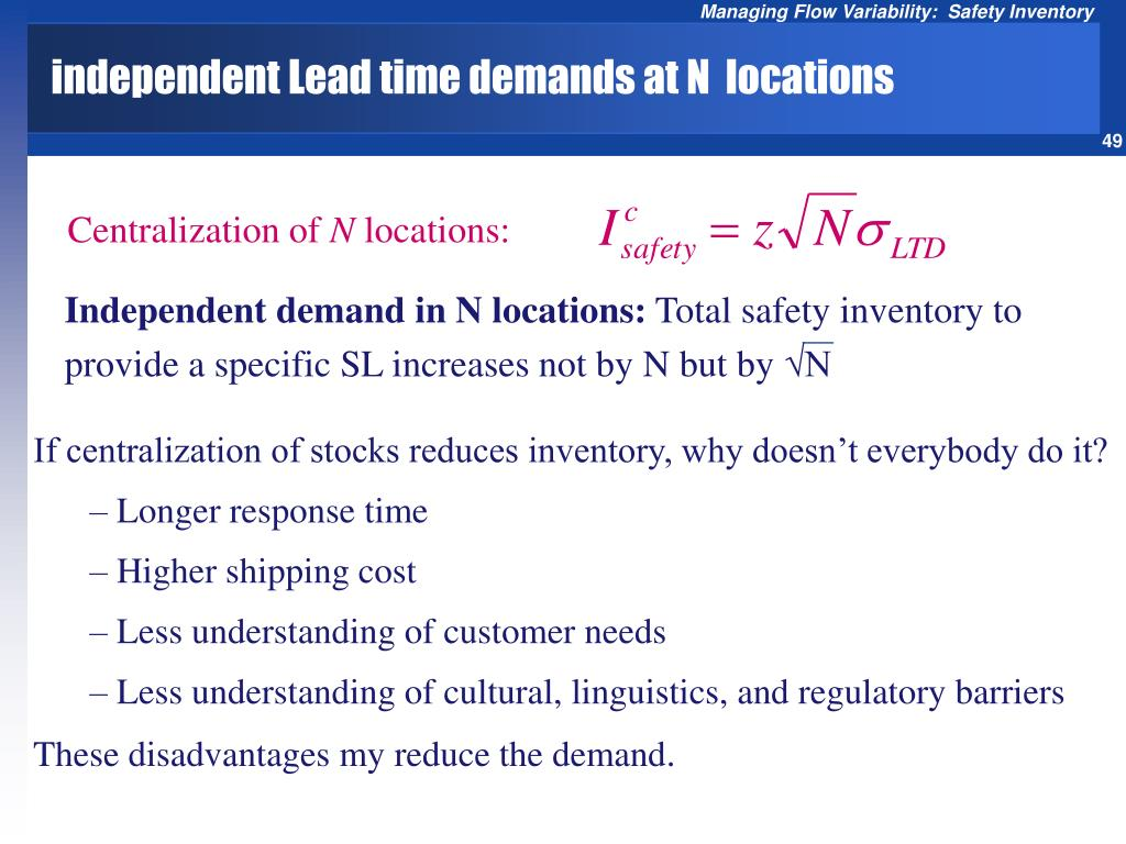 independent Lead time demands at N  locations