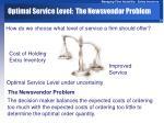 optimal service level the newsvendor problem