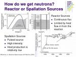 how do we get neutrons reactor or spallation sources