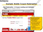 example mobile coupon redemption