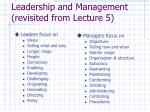 leadership and management revisited from lecture 5