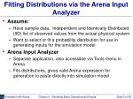 fitting distributions via the arena input analyzer