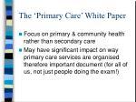 the primary care white paper