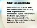 activity lists and attributes9