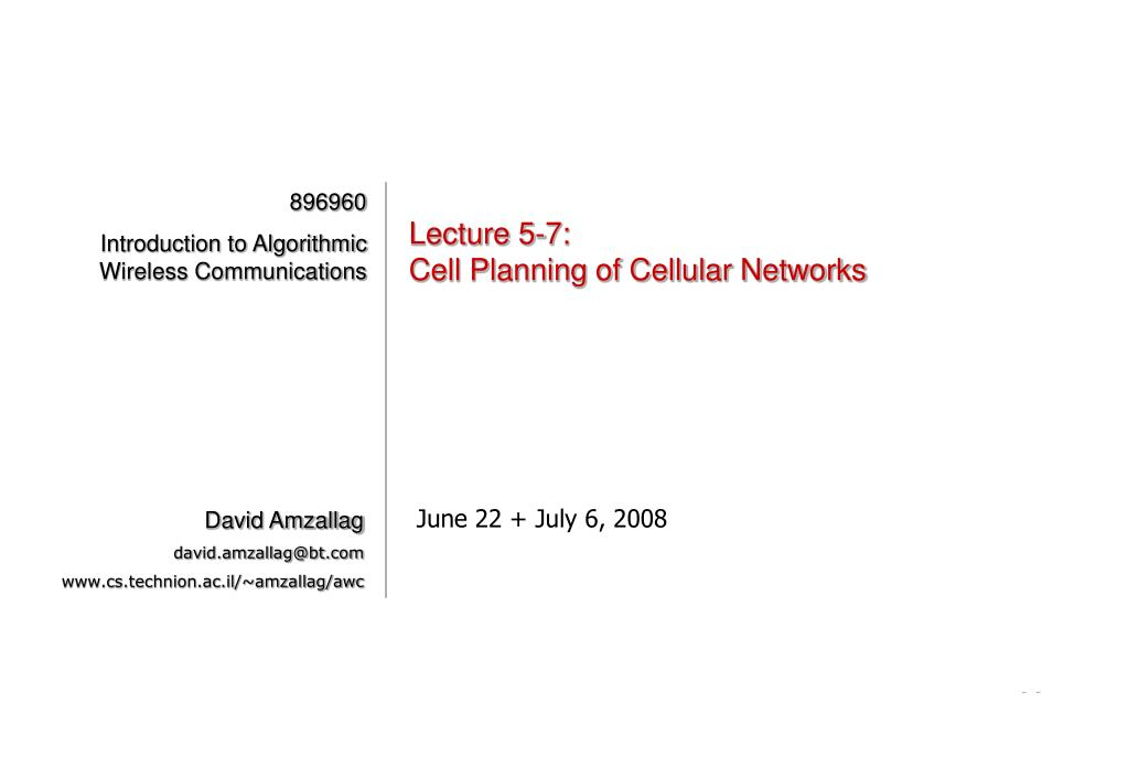 lecture 5 7 cell planning of cellular networks l.