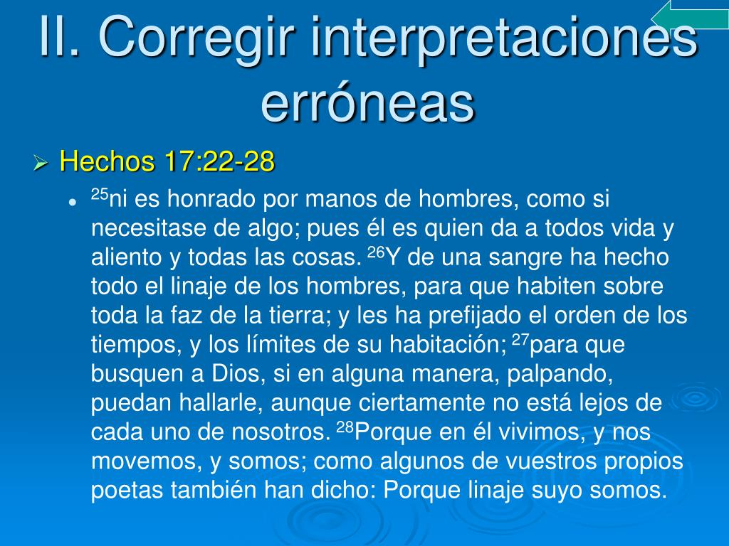 II. Corregir interpretaciones erróneas