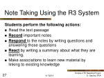 note taking using the r3 system