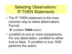 selecting observations if then statements