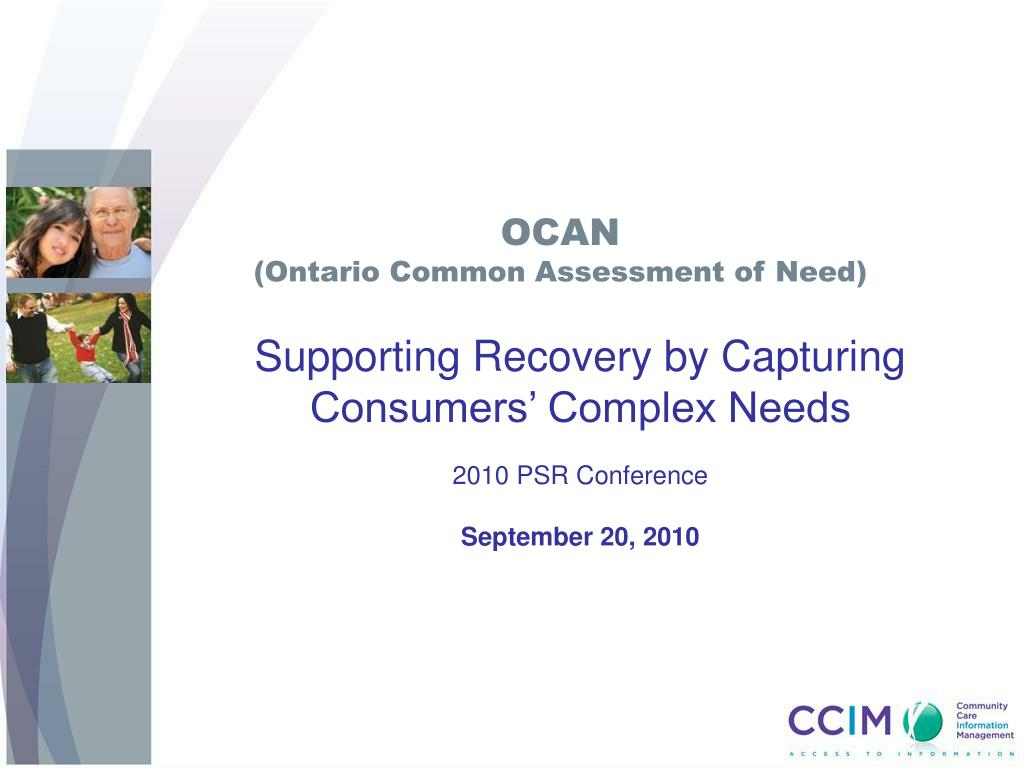 ocan ontario common assessment of need l.