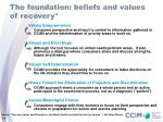 the foundation beliefs and values of recovery