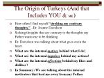 the origin of turkeys and that includes you me