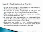 industry analysis in actual practice