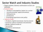 sector watch and industry studies