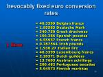 i revocably fixed euro conversion rates