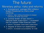 the future monetary policy risks and reforms
