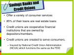 savings banks and credit unions