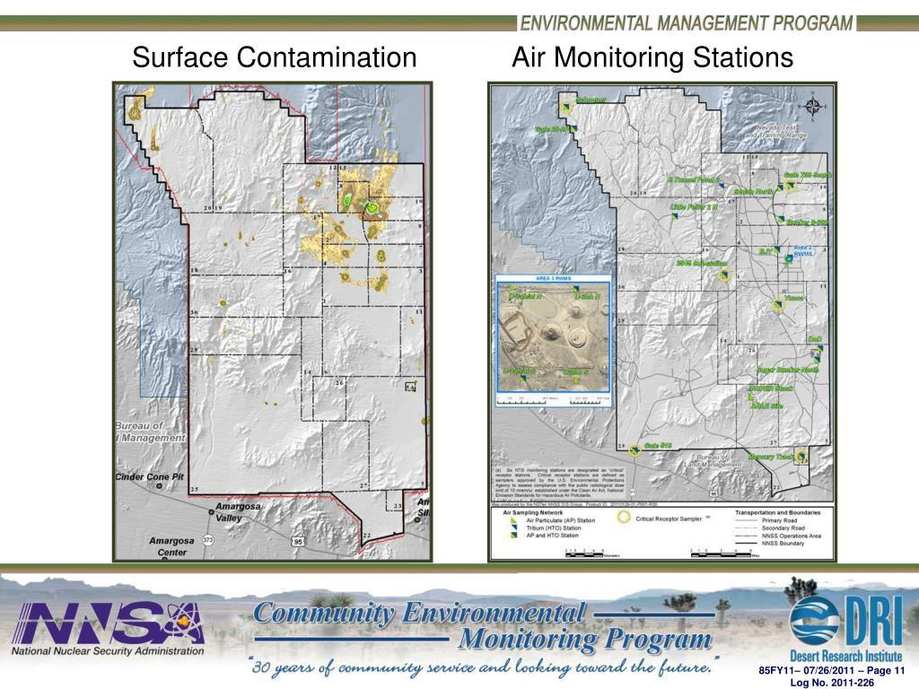 Surface Contamination            Air Monitoring Stations