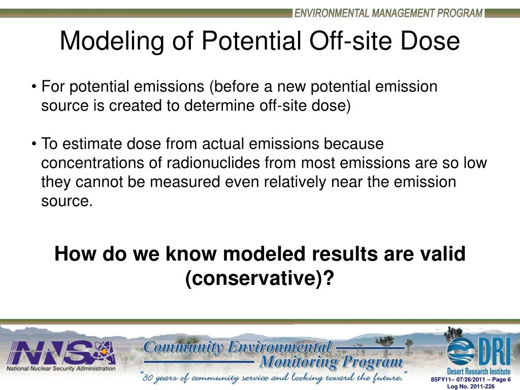 Modeling of Potential Off-site Dose