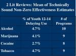 2 lit reviews mean of technically sound non zero effectiveness estimates