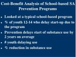 cost benefit analysis of school based sa prevention programs