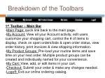 breakdown of the toolbars