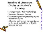 benefits of literature circles on student s learning