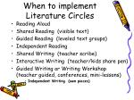 when to implement literature circles