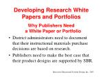 developing research white papers and portfolios