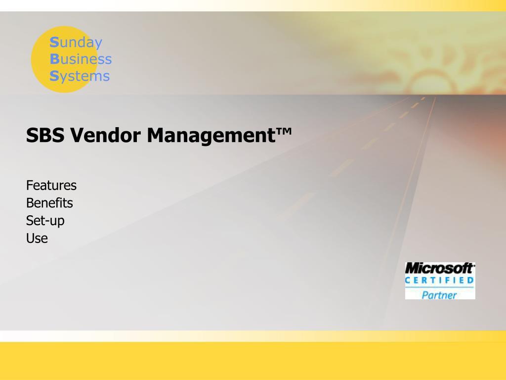 sbs vendor management l.