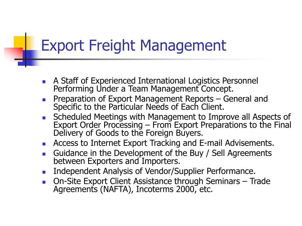 Export Freight Management