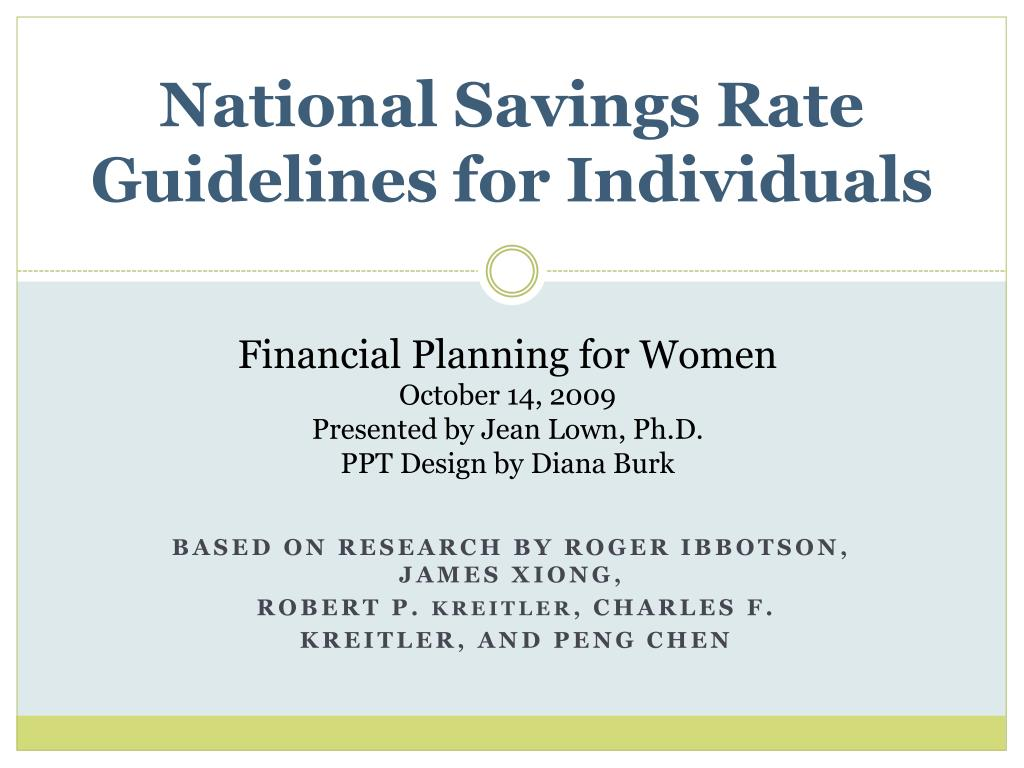 national savings rate guidelines for individuals l.