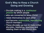 god s way to keep a church going and growing