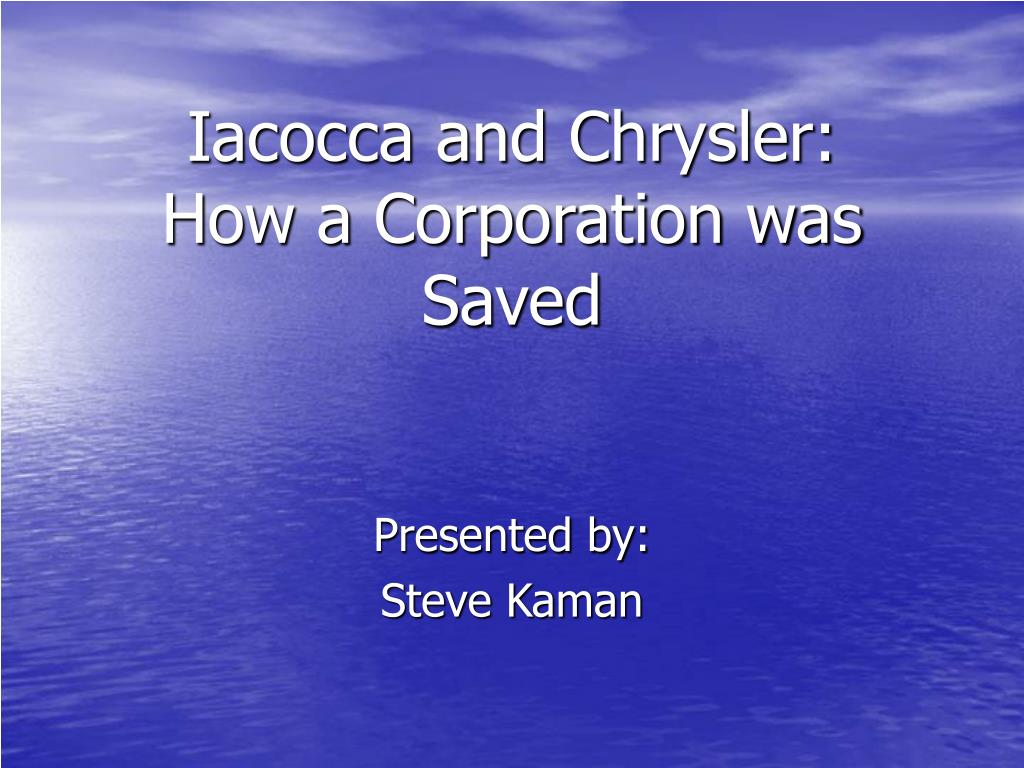 iacocca and chrysler how a corporation was saved l.