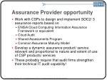 assurance provider opportunity