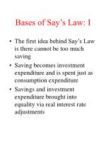 bases of say s law i