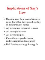 implications of say s law