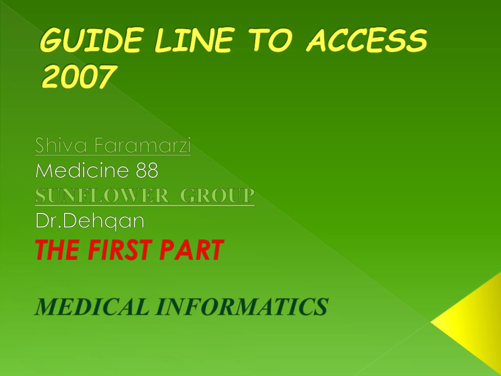 guide line to access 2007 l.