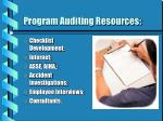program auditing resources
