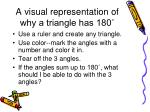 a visual representation of why a triangle has 180