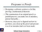 programs vs proofs