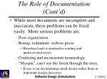 the role of documentation cont d