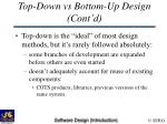 top down vs bottom up design cont d