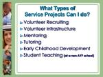 what types of service projects can i do
