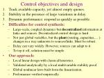 control objectives and design
