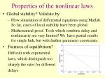 properties of the nonlinear laws