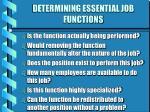 determining essential job functions
