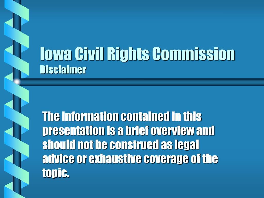iowa civil rights commission disclaimer l.