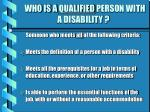 who is a qualified person with a disability