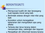 berintegriti