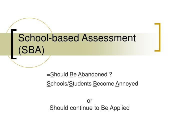 school based assessment sba n.